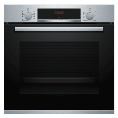 Bosch HBS534BS0B 59.4cm Built In Electric Single Oven with 3D Hot Air - Stainless Steel