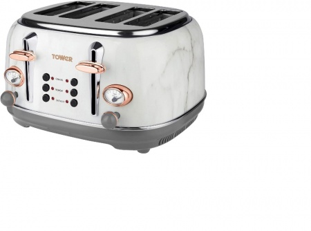 TOWER WHITE MARBLE AND ROSE GOLD 4 SLICE TOASTER (T20017WMRG)